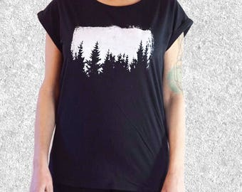 Sale - Imperfect Print - Size L - womens graphic tee - trees t shirt - screen printed t shirt - nature t shirt - rolled sleeve tee