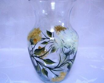 Vase, hand painted vase, glass vase, flower vase, decorative vase, vase with queen anne lace, home decor, painted vase, painted glass vase
