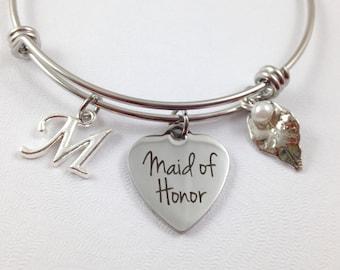 Maid of Honor Charm Bracelet, Wedding Bracelet, Wedding Jewelry, Bridesmaid Gift, Bridesmaid Jewelry, Custom Bridesmaid Bracelet