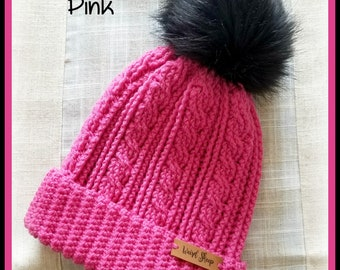 Fushia Pink Cabled Hat with Black Pom Pom