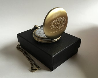 Personalized Pocket watch - Gold Laser engraved pocket watch - Gold personalized Pocket watch in gift box - Groomsmen gift - Gifts for him