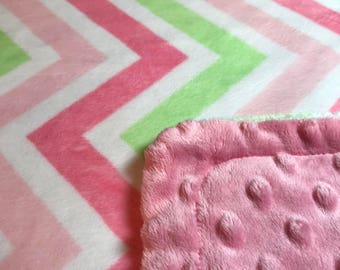 Minky Blanket Pink, Green, and Watermelon Chevron Minky with Pink Dimple Dot Minky Backing - Perfect Size a Toddler or Child