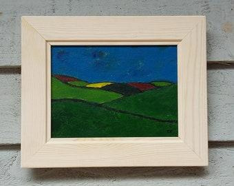 "Original Acrylic Landscape Painting 11""x9"" Folk, Naive Painting in Acrylic Original Abstract Landscape Expressionism Canvas Board Artwork"