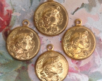 Vintage Brass Stamping Nouveau Woman Charms