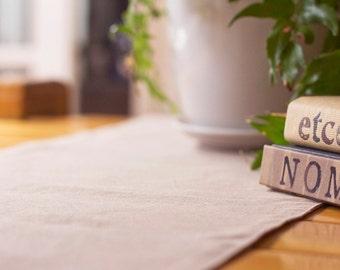 Reversible Table Runner – Taupe & Natural Hemp / Organic Cotton