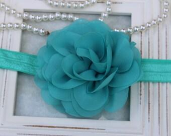 Teal headband, turquoise baby girl headband, toddler flower girl headband, turquoise headband, turquoise hair accessory, teal girls headband
