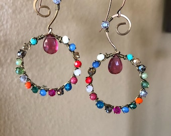 Colorful swirls with pink sapphire