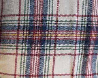 "DUVET ... 3 pc King / Queen Plaid red White & Blue Reversible Duvet Cover w 2 Pillow shams 100% Cotton 88"" w x 88"" Long"