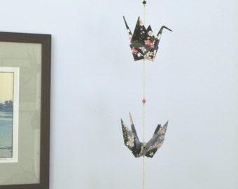 Temari and Crane Mobile - gray temari ball with pink flowers, black and gray origami paper cranes, Swarovski crystals