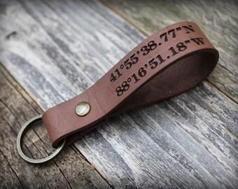 Custom Latitude Longitude - Leather Keychain - Fathers Gift - Coordinate Keychain - Anniversary - Long Distance - Gift for Him - Keychain