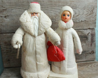 Large rare Figures Santa Claus (Ded Moroz) and Snow Maiden (Snegurochka) / papier-mache / cotton wool / Vintage Christmas Decor / New Year