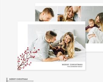 Christmas Card Template for photographers PSD Flat card - Christmas Card - Photoshop Template - CD055