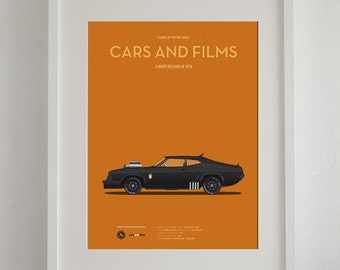 Mad Max car movie poster, art print A3 Cars And Films, home decor prints, illustration print. Car print