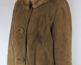 Brown Suede 1950's Long Coat w/ Fur Collar