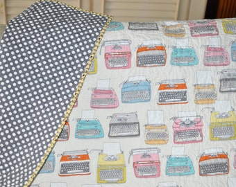 MADE TO ORDER Baby Crib Quilt Blanket Gender Neutral Modern Hipster Style with Typewriters and Polka Dots