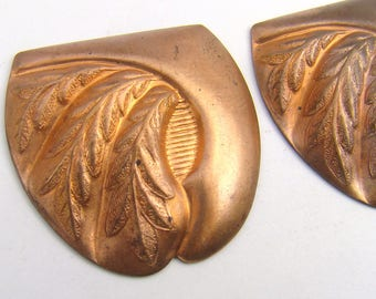 2 pcs vintage brass wheat stampings, large thick brass Art Nouveau style