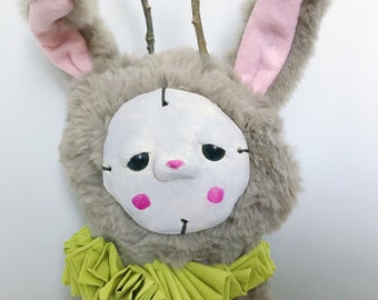 Quirky Bunny Art Doll/ circus themed soft sculpture, gifts for rabbit lovers, unique rabbit room decor, ooak fiber art, circus folk art