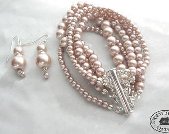 Pale Pink Champagne Bracelet and Earring Set