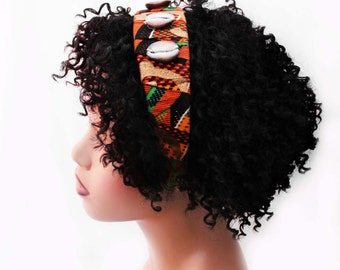 Headband, African Headband, Natural Hair Headband, Hair Accessories, Wide Headband, Afropunk, Dayo African Kente Fabric Headband