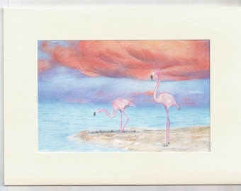 Flamingo card, Flamingo greeting card, Blank Flamingo card, card for Her, Tropical card, Flamingo Birthday card, Friend card