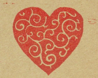 Scroll heart block print, red on brown kraft paper, red heart hand-pulled print