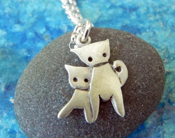 Mommy and baby cat sterling silver necklace - mom necklace Valentine gift Mothers day