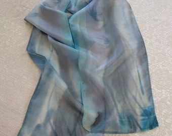Gray Blue silk scarf, Hand painted silk scarf, orchid silk scarf, one of a kind, handmade, birthday gift, ready-to-ship, free shipping.