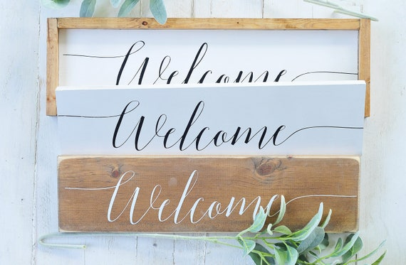 S A L E : Welcome Sign, Wood Sign, Home Decor, Wall Art, Welcome, Framed, Entry, Entryway Sign, Rustic, Farmhouse, Script