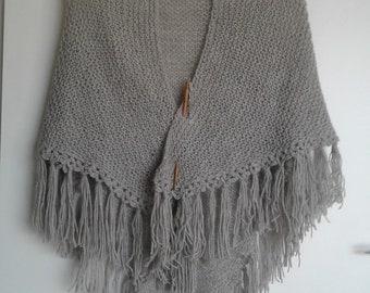 Alpaca handknit shawl in grey