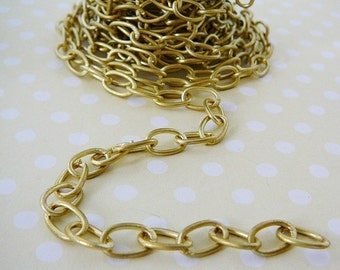 Brass Cable link Chain, 3 feet, 10mm Cable jewelry making supplies