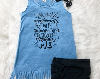 Uniquely Me Tank Top Dress -- Summer Fringe Racerback Shirt - Kids, Girls Toddler, Baby, Blue, Black, White Beach Vacation