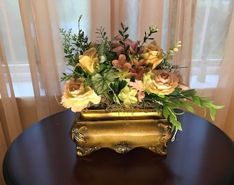Medium Blush Pink and Beige Rose and Green Floral Arrangement, Silk Flowers & Antique styled Treasure Chest Base