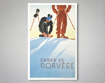 L'Hiver en Norvege Ski Travel Poster, 1938 - Poster Print, Sticker or Canvas Print / Gift Idea