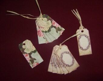 Set of 20 old vintage flowers or tag labels