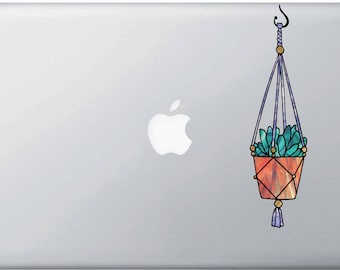 "CLR:MB - Hanging Succulent Plant - D2 - Stained Glass Style - Opaque Vinyl Macbook Laptop Decal ©YYDCo. (MED 2""w x 7.5""h)"