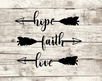 Faith Hope Love Arrow SVG NEW
