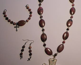 SALE Handcrafted Jewelry Set, Glass Beads, Necklace, Bracelet and Earrings, Cross Pendant