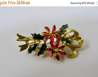 On Sale Vintage Enameled Poinsettia and Holly Pin Item K # 1986