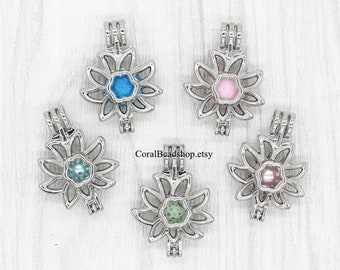 5pcs Sunflower Pearl Cage, Openable Double-sided Flower Cage Locket Pendant Aromatherapy Perfume Diffuser Locket Charms-AL195