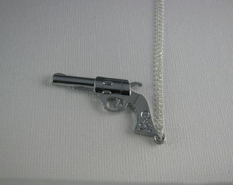 Pistol Revolver Necklace on 925 Sterling Silver chain, Pistol revolver Pendant Necklace, Pistol revolver Necklace