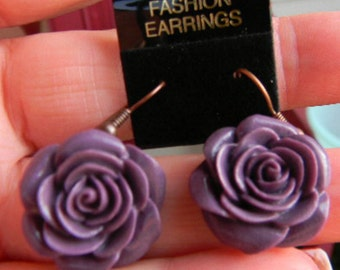 Purple - Light or Dark Vintage Style Victorian Cabbage Rose  Cabochon Earrings