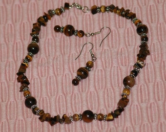 Tiger's eye, smooth and rough necklace and earring jewelry set
