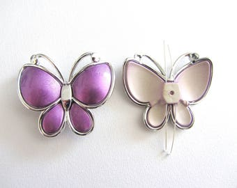 1 beads, connector, between two purple butterfly