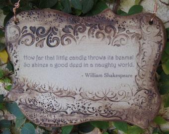 Inspirational William Shakespeare Quote Ceramic Plaque - Sepia