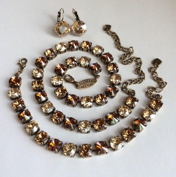"Swarovski Crystal Necklace  - Designer Inspired -  "" Golden Neutrals""  -  Beige, Golden, & Copper"