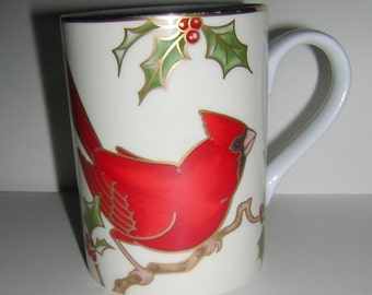 Fitz and Floyd CHRISTMAS HOLLY CARDINAL Mug