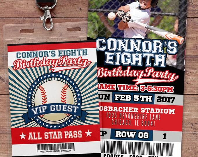 Baseball ticket Invitation, All Star Birthday, VIP pass, Baseball Party, sports birthday, ticket invite, Bar Mitzvah, lil slugger, Digital