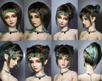 Undercut with bangs style angora mohair wig for bjd