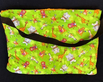"""Beach Towel Pool Bag Chair & Car Seat Cover - """"Wacky African Animals"""" Pocket - with Jumbo BRIGHT YELLOW Terry Towel (BTB-55-0678-btylw-LB7R)"""