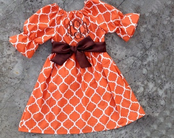 Girls thanksgiving outfit, baby girl clothes, baby fall clothes, monogrammed Orange quatrefoil dress, brown and orange toddler fall outfit